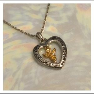 Jewelry - Caring Silver Gold Angel Pendant Necklace